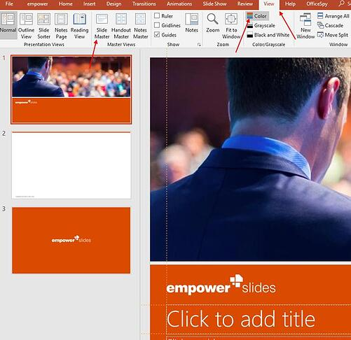 Your own colors in PowerPoint: master color theme and custom colors