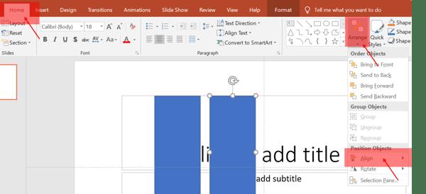 arrange items in PowerPoint