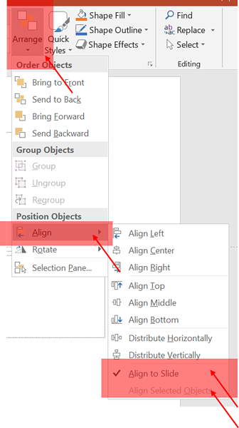 how to arrange things in PowerPoint
