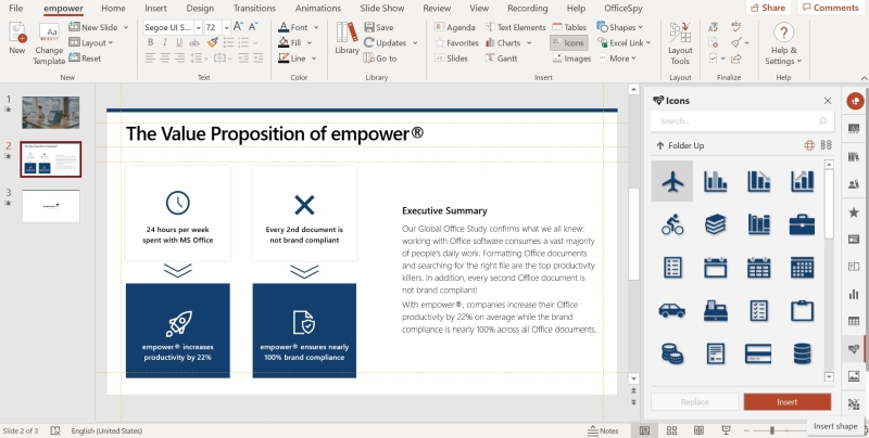 Icon library empower