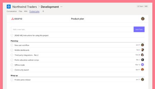 asana Microsoft Teams App