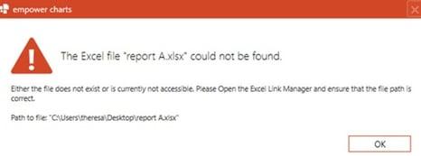 error message on update