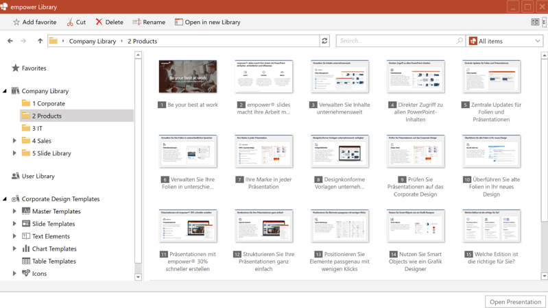 PowerPoint slide manager in empower