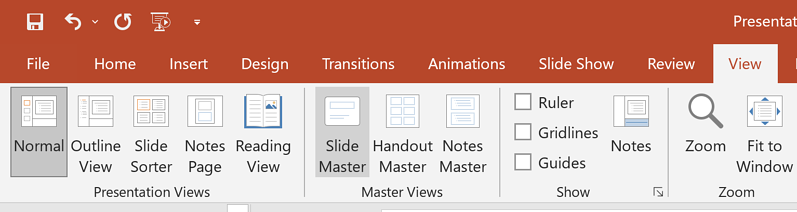 powerpoint footer slide master