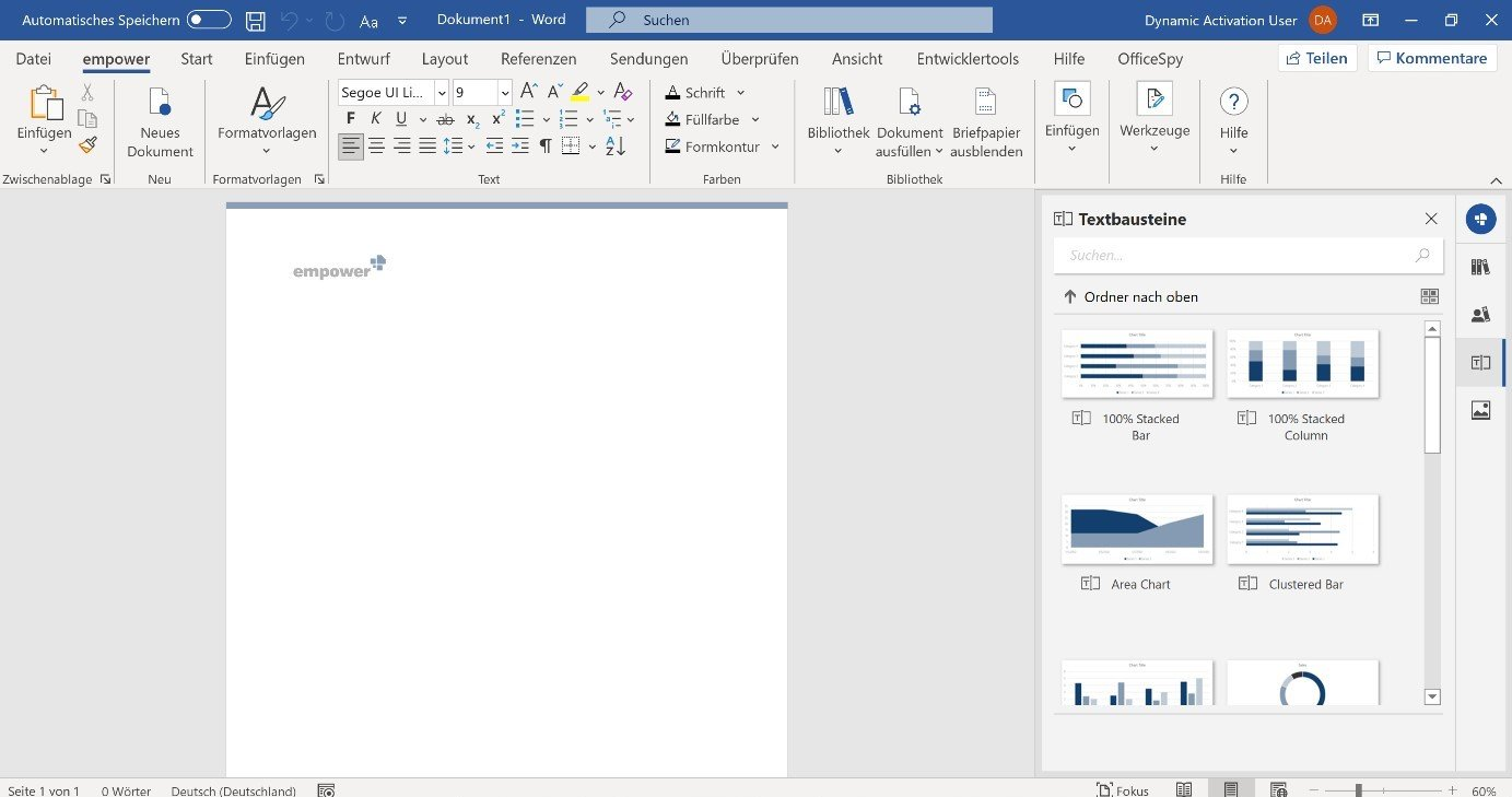 Templates and text modules in Word libraries