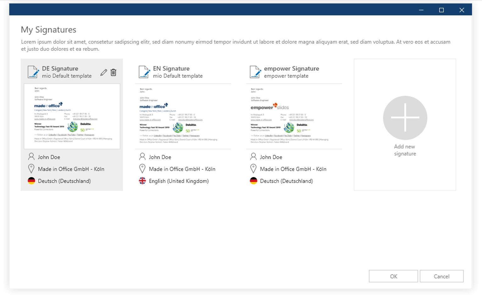 manage outlook signatures centrally (languages)