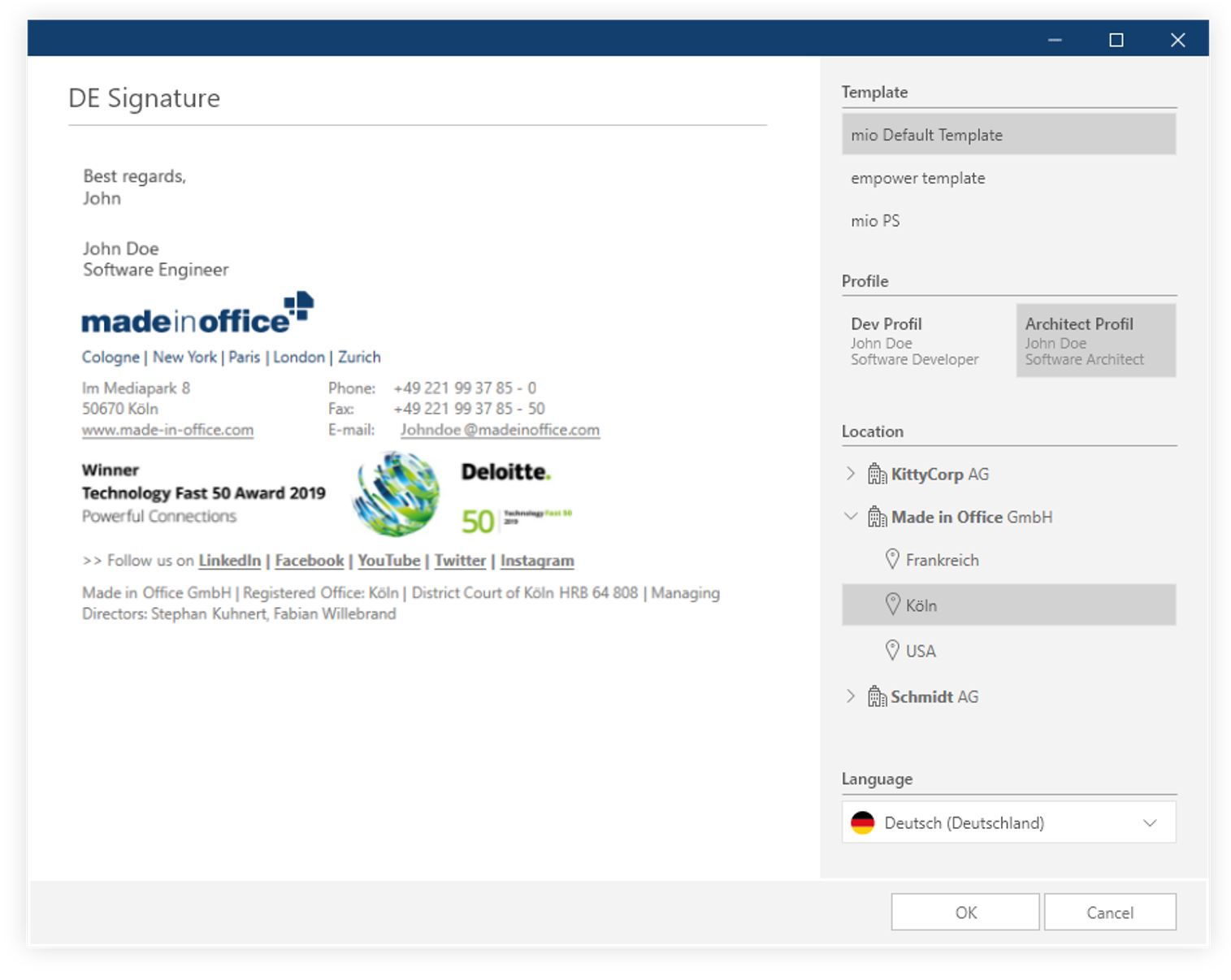 manage outlook signatures centrally (location)