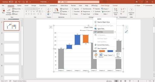 edit data warterfall chart powerpoint
