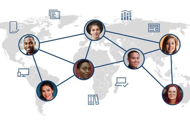 weltweite Zusammenarbeit in Office